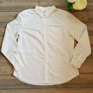Old Navy White / Black Polka Dot Shirt Sz L